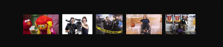 Five images side by side. From the left: an image of two puppets on Sesame Street, two people operating cameras, two people at a crime scene, a wheelchair user bouncing a basketball, two people that appear to be from CALD backgrounds standing in front of film posters.