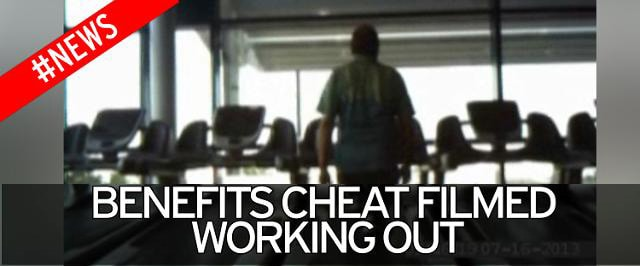 "A person pictured from behind while on a treadmill. The words ""benefit cheat filmed working out""' are displayed."
