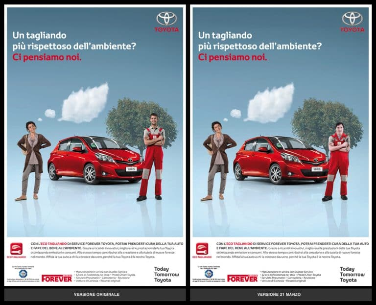 The same Toyota car advertisement is pictured side by side. Two people stand either side of a red car. In the image on the left one of the people is a tall person wearing red overalls. In the image on the right, a tall person with Down Syndrome stands in place of the person in the other image.